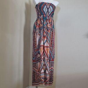 A multicolored strapless dress